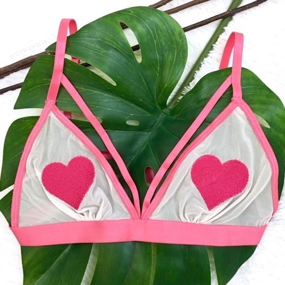 391764f978 Pink Peekaboo Mesh Heart Strappy Triangle Bralette.  M 5b577d147c979df0a1e62d85